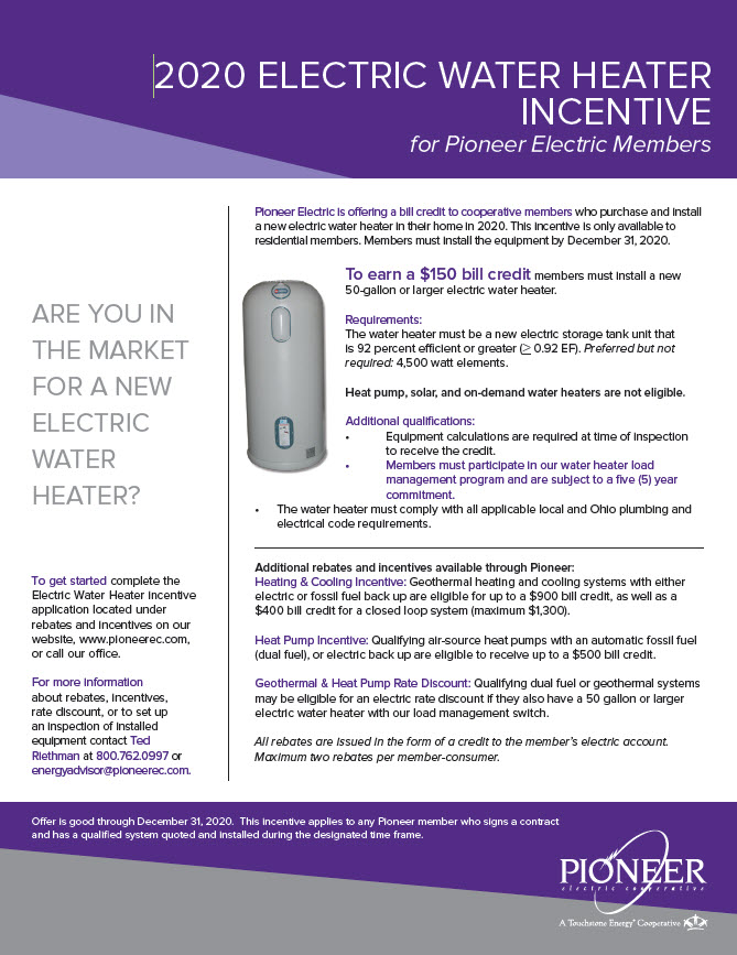 2020 Water Heater Incentive