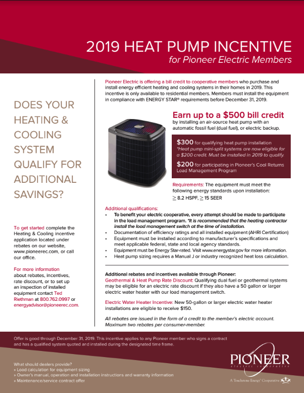 HeatPump Incentive Flyer
