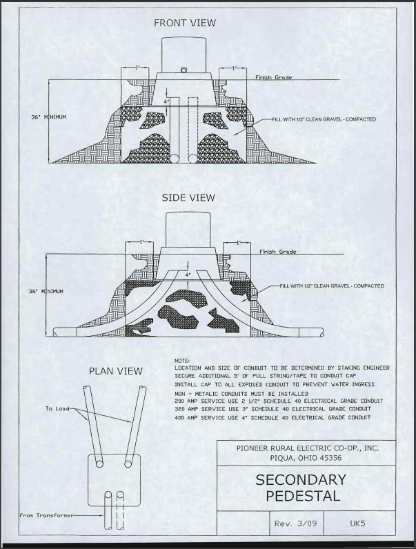 Trench - Secondary Pedestal